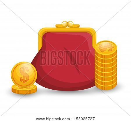 save money bag with currency gold vector illustration eps 10