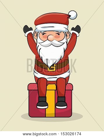 santa claus happy sit over big gift vector illustration eps 10