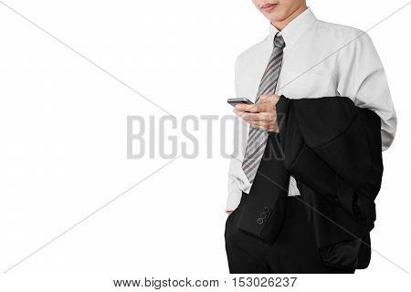 Business man employee in white t-shirt relaxing using smartphone,and holding black suit on his arm, isolated on white background