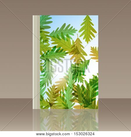 Book autumn still life. Oak leaves. Vector background