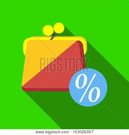 Wallet with sale icon. Flat illustration of wallet with sale vector icon for web
