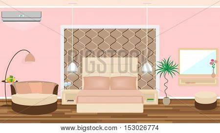 Luxe hotel room interior with air conditioning, light equipment, furniture. Vector illustration in flat style