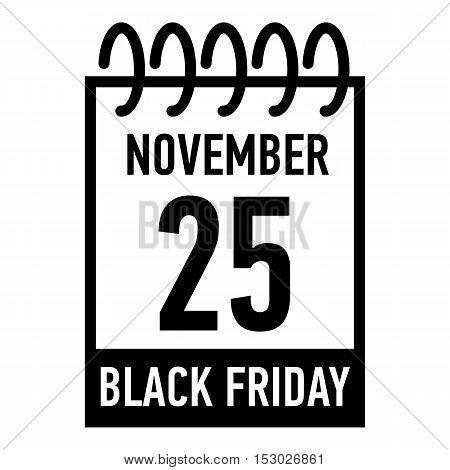 Calendar twenty fifth of november icon. Simple illustration of calendar twenty fifth of november vector icon for web