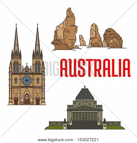 Australian buildings and landmarks icons. Vector St Mary Cathedral, Twelve Apostles rocks, Shrine of Remembrance. Detailed icons of sightseeings of Australia for souvenirs, travel guide design elements