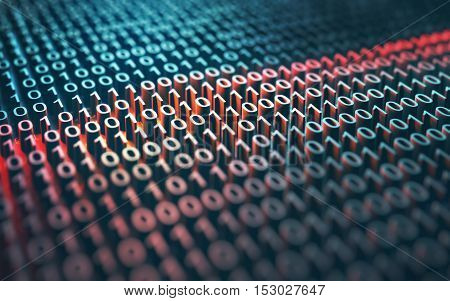 3d illustration of a laser scanner on a binary code embossed.