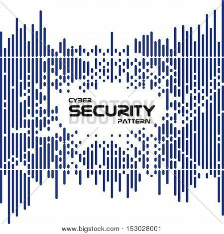 Abstract vector irregular dashed rounded lines halftone transition pattern. Digital cyber security style
