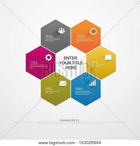 Vector infographics. Template map drawing presentation and graphics. 6 edge business concepts and shape options parts steps or processes. Abstract background.