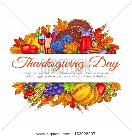 Thanksgiving Day greeting card decoration. November traditional american thanksgiving celebration placard design. Autumn fruits and vegetables harvest abundance, table plenty of food. Vector label for thanksgiving invitation