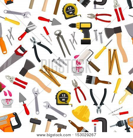 Vector pattern of repair working tools. Vector pattern of working tool paint roll brush, hammer, ax, ruler, level, file, electric saw, hand saw hatchet, ruler, spanner. Construction and carpentry design