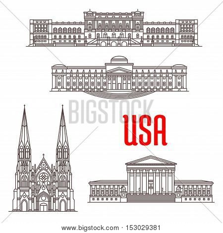 United States Supreme Court, Library of Congress, Brooklyn Museum, St Patrick Cathedral. Famous architecture landmarks of USA. Vector icons of buildings for souvenirs, travel map guide elements