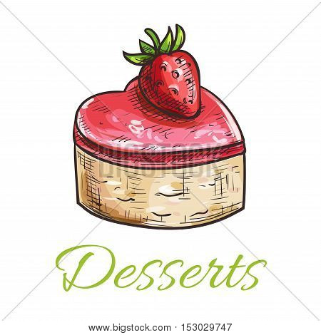 Vector dessert cake emblem. Color sketched cupcake with strawberry and marmalade topping. Template for cafe menu card, cafeteria signboard, bakery shop label