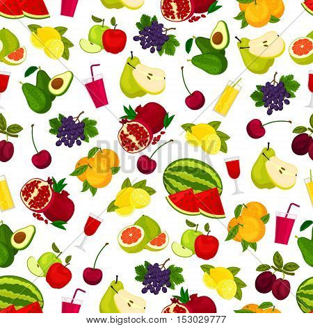 Fresh ripe fruits, berries and juicy drinks pattern. Vector pattern of watermelon and pomegranate, cherry and orange, lemon, grape and pear, apple and plum, avocado, grapefruit, fruit juice in glass