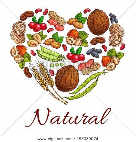 Healthy nuts, grain, berries icons in heart shape. Vegetarian coconut, hazelnut and pea, wheat ears, peanut, cranberry and walnut, coffee beans and sunflower seeds