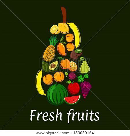 Pear icon with tropical and exotic fruits. Vector decoration element of fruit symbols banana, watermelon, avocado, grape, apricot, apple, mango, lemon, orange. Healthy lifestyle concept emblem
