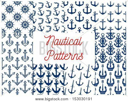 Nautical patterns set with anchor vector icons. Vector seamless pattern of navy blue ship vessel anchor on chain and steering wheel element