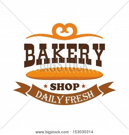 Bakery shop. Daily fresh baked wheat bread bagel. Baking products icon of baguette with ribbon and text and pretzel decorative element