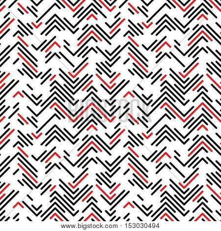 Seamless Zig Zag Pattern. Abstract  Chaotic Black and Red Line Background. Vector Regular Texture