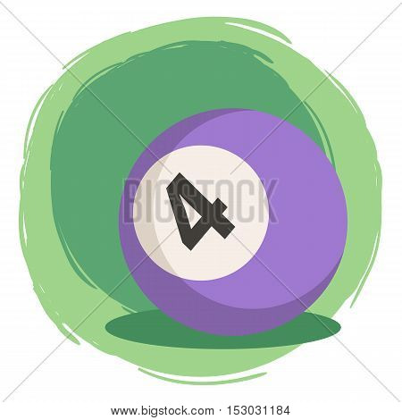 Purple Billiard ball number four 4 isolated on green white background vector illustration.