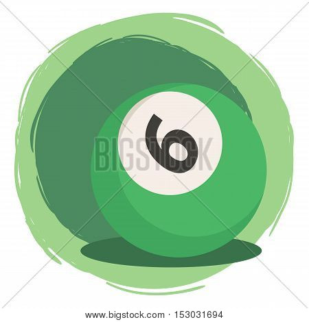 Green Billiard ball number six 6 isolated on green white background vector illustration.