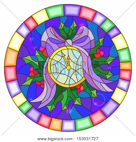 Illustration in stained glass style with round clock showing midnight Holly branches and bow on blue background round picture frame