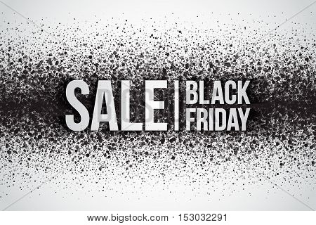 Black friday sale vector background. Illustration with 3d silver letters for business, marketing and holiday. Abstract dark gray round ash particles on white background. Spray effect