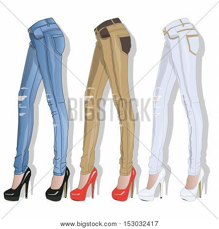 Female Jeans. Vector.