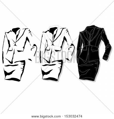 Female Suit. Clothes Collection. Vector.