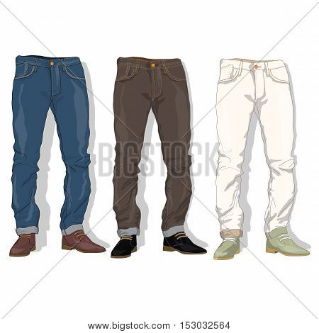 Male jeans fashion set . Vector illustration.