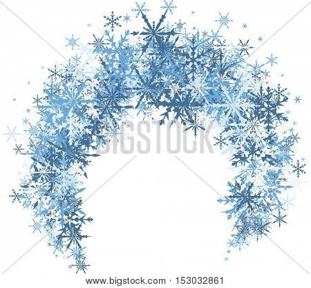White winter background with arc of blue snowflakes. Vector illustration.