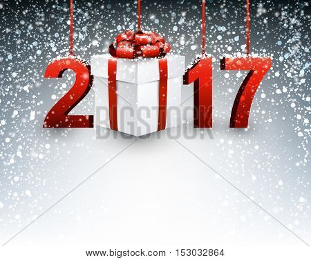 2017 New Year background with gift and snowfall. Vector illustration.
