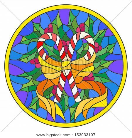 Illustration in stained glass style with lollipops Holly branches and bow on blue background round picture frame