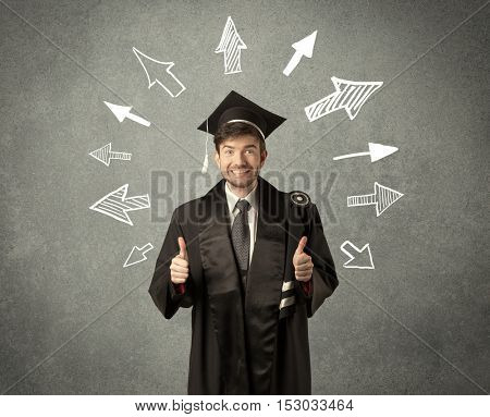 Young graduate student with hand drawn arrows on wall