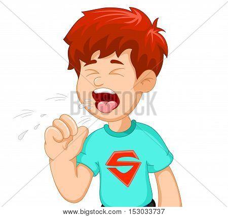 cute boy cartoon coughing for you design
