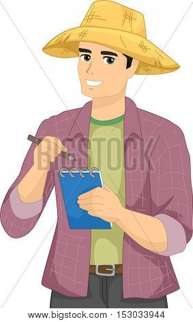 Illustration of a Male Farmer Dressed in a Long-Sleeved Polo and a Straw Hat Writing Notes Down