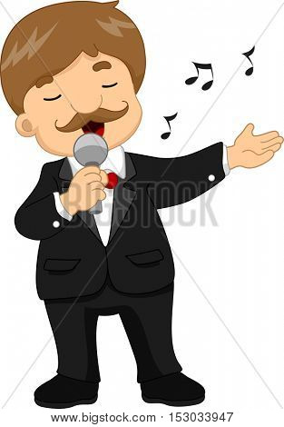 Illustration of a Male Singer in a Black Tuxedo Doing Hand Gestures While Singing