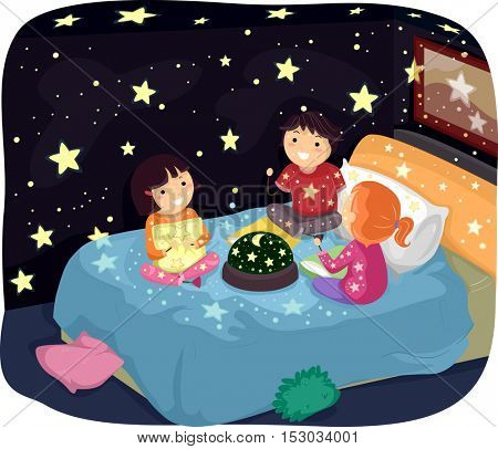 Whimsical Illustration of Stickman Kids in Pajamas Admiring a Room Decorated with Glow in the Dark Stickers