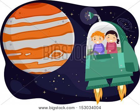 Stickman Illustration of Preschool Kids Observing the Planet Jupiter from a Space Capsule