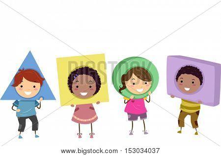 Stickman Illustration of Preschool Kids Wearing Basic Shapes as Headdresses