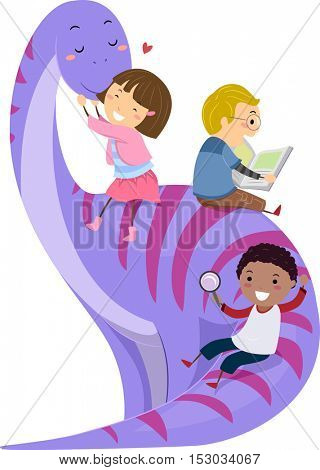 Stickman Illustration of Preschool Kids Playing with a Giant Purple Dinosaur