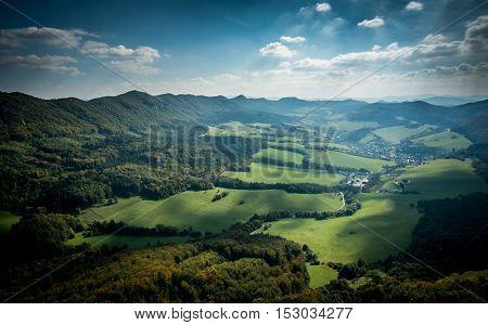 Slovakian mountains Sulov in autumn with sunset