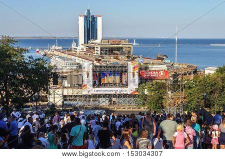 Odessa, Ukraine - September 02, 2016: Festive concert on Potemkin Stairs in honor of the Day