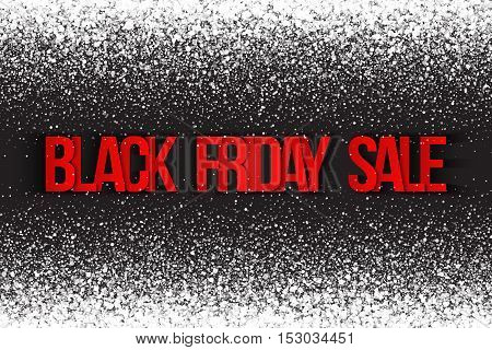 Black friday sale vector background. Illustration 3d red and silver letters for business, marketing and holiday. Bright white shimmer glowing round falling particles. Scatter shine light explosion