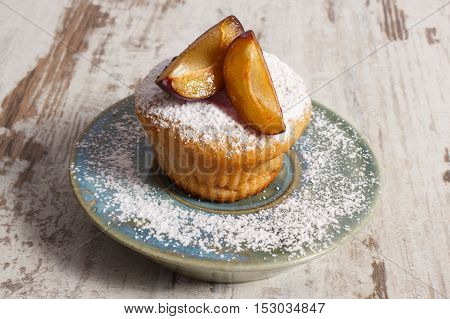Fresh Baked Muffins With Plums And Powdered Sugar On Plate, Delicious Dessert