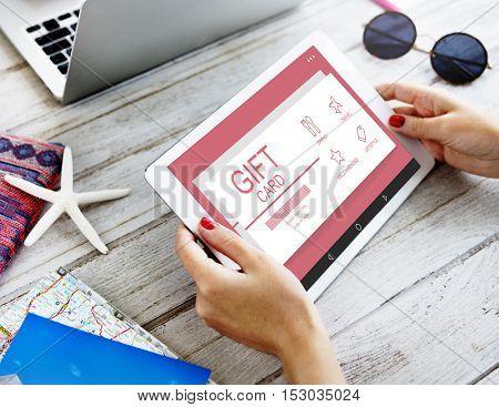 Gift Card Voucher Coupon Discount Concept