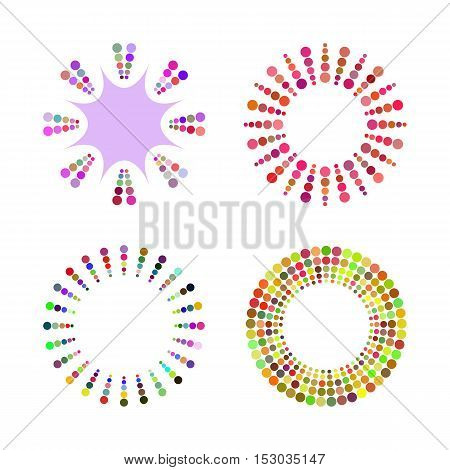 Set of cheerful colored radial framework for the text of the circles. Isolated borders.