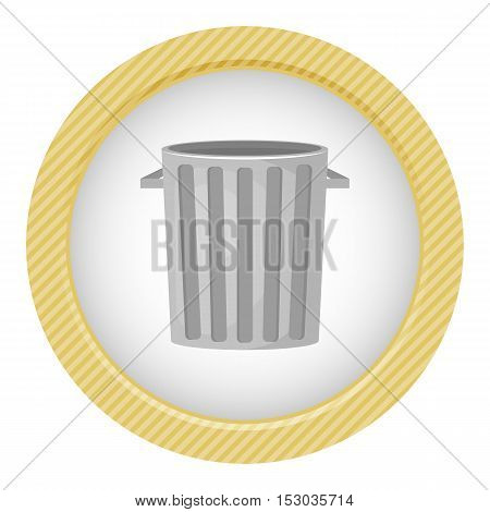 Trash bin colorful icon. Vector illustration in cartoon style