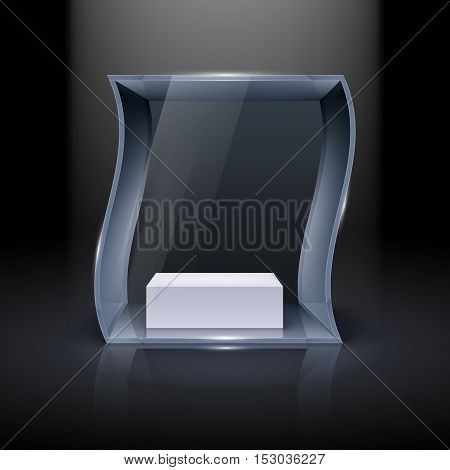 Glass Showcase in Wave Form for Presentation on Black Background