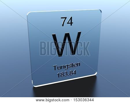 Tungsten symbol on a glass square 3D render