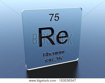 Rhenium symbol on a glass square 3D render