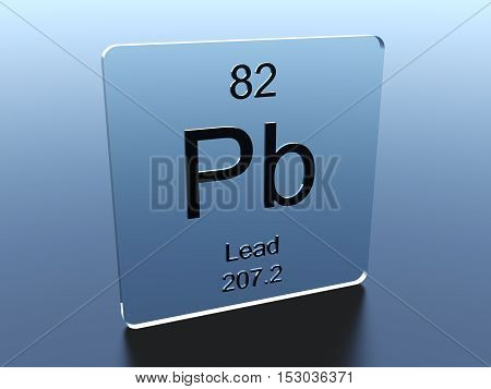 Lead symbol on a glass square 3D render